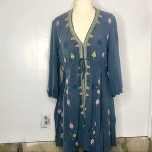 Free People Embroidered Blue Dress